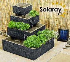 4 Tier Herb Planter Water Feature Fountain Cascade Solar Powered Modern Garden