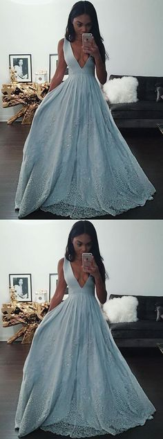 A-Line Deep V-Neck sexy party dresses, Light Grey Long Prom Dress, luxury evening dresses with Appliques Beading B0566
