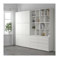 IKEA SVALNAS Bamboo, White Wall-mounted workspace combination EKET Storage combination with feet, white/orange, light orange white/orange/light orange Ikea Svalnas, Ikea Malm, White Storage Cabinets, Casa Loft, Ikea Home, Ikea Furniture, Furniture Stores, Furniture Ideas, Furniture Cleaning