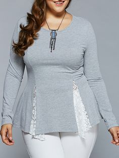 Plus Size Lace Insert Asymmetrical Blouse