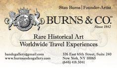 Burns & Co. Rare Historical Art located in Manhattan, NY and Nashville, TN. We create historical art from rare prints, manuscripts, texts, and reliefs. Contact us at (646) 418-5041 or email bandcgallery@gmail.com. Visit us at: www.BurnsandCoGallery.com