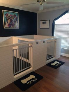 Indoor dog kennel - Tap the pin for the most adorable pawtastic fur baby apparel! You'll love the dog clothes and cat clothes! - here is where you can find that Perfect Gift for Friends and Family Members Animal Room, Canis, Dog Bedroom, Bedroom Ideas, Bedroom Table, Puppy Room, Dog Play Room, Puppy Nursery, Diy Dog Crate