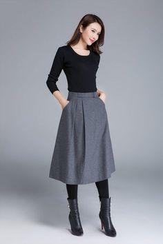 wool skirt grey skirt midi skirt skirt with pockets fitted