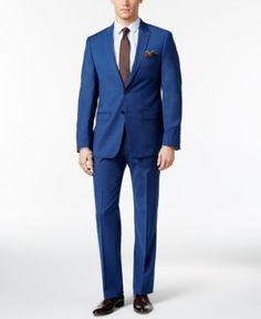 Calvin Klein Men's Extra-Slim Fit High Blue Pindot Suit - Blue 44R