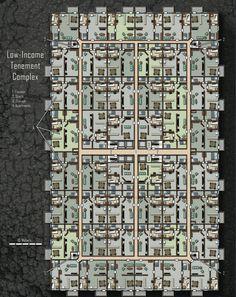 Low-Income Tenement Complex; shadowrun, floorplan