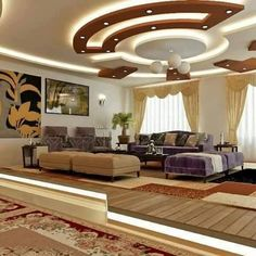 latest gypsum board false ceiling designs and walls with lighting 2019 Plaster Ceiling Design, House Ceiling Design, Ceiling Design Living Room, False Ceiling Living Room, Bedroom False Ceiling Design, Ceiling Decor, Living Room Designs, Ceiling Ideas, Simple False Ceiling Design