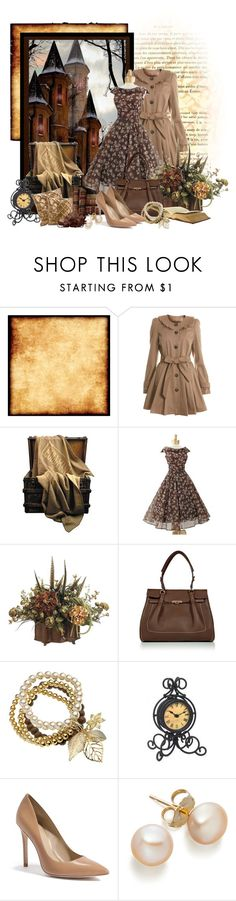 """""""Vintage Brown Dress"""" by stylesbyjoey ❤ liked on Polyvore featuring Miss Selfridge, CO, Salvatore Ferragamo, GUESS by Marciano, vintage, country, pumps, vintage dresses, coats and pearls"""