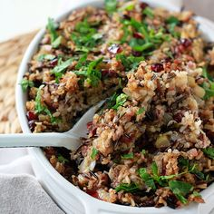 A hearty wild rice & quinoa stuffing that's packed full of fresh herbs and studded with apples, cranberries & pecans. It's also vegan AND gluten-free!