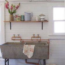New ideas farmhouse laundry room sink wash tubs Laundry Room Sink, Laundry Tubs, Laundry Decor, Basement Laundry, Farmhouse Laundry Room, Laundry Room Design, Kitchen Sink, Vintage Laundry Rooms, Full Bath