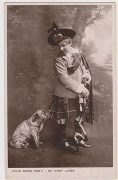 BULLDOG & YOUNG MAN RPPC real photo postcard Philco Series London postcard. Divided Back (c. 1907-1915). During World War One, famous Scottish entertainer Harry Lauder used his global success to recruit thousands of men for the war effort. He also established the Harry Lauder Million Pound Fund to help the war injured and in 1919 he was awarded a knighthood for his contribution. Pinned by Judi Crowe.