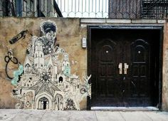 Street Art By American Artist Swoon On the streets of East London, UK.
