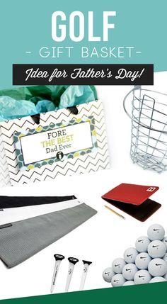 Father's Day Golf Gift Basket Idea- such a fun manly gift basket for dad #fathersday #giftbasketformen #golfgift #diygift #forhim #datingdivas