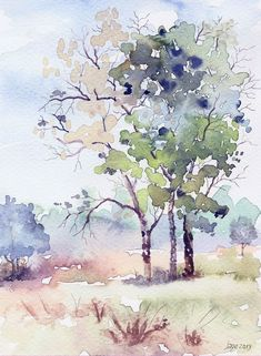 """Day Watercolor on paper mm. 2013 Artist: Salih G Watercolor Landscape Paintings, Watercolor Trees, Easy Watercolor, Abstract Watercolor, Watercolor Illustration, Watercolour Painting, Landscape Art, Watercolors, Tree Art"