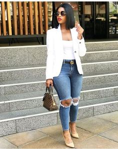 Casual Attires For Creative Ladies – jane doe Casual Attires For Creative Ladies Blue Jean looks classy casual & hip Casual Work Outfits, Business Casual Outfits, Curvy Outfits, Mode Outfits, Classy Outfits, Stylish Outfits, Fall Outfits, Fashion Outfits, Summer Outfits