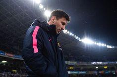 Lionel Messi of FC Barcelona looks on prior to the La Liga match between Real Sociedad de Futbol and FC Barcelona at Estadio Anoeta on January 4, 2015 in San Sebastian, Spain