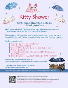 Our shelter is currently at capacity with cats... our Kitty Shower will help us collect items we need to provide them with continuous care.  Thanks for your support!