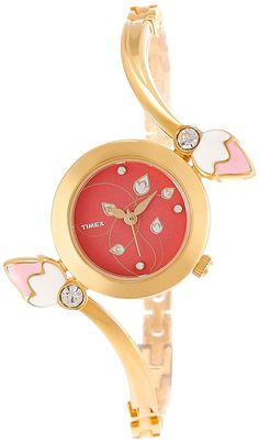 Timex NEW WOMEN Analog Red Dial Women's Watch - Dial Color: Red, Case Shape: Round. Dream Watches, Luxury Watches, Timex Watches, Wrist Watches, Watch Display, Beautiful Watches, Bracelet Watch, Jewelries, White Gold