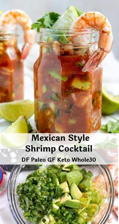 Mexican Shrimp Cocktail is more than just an appetizer. With meaty shrimp, creamy avocado, vegetables and a flavorful tomato sauce, this could be enjoyed as lunch or dinner. This recipe takes less that 20 minutes to prepare and is Gluten Free, Dairy Fish Recipes, Seafood Recipes, Gourmet Recipes, Appetizer Recipes, Mexican Food Recipes, Cooking Recipes, Healthy Recipes, Mexican Snacks, Mexican Appetizers