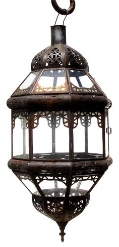 """Sabae lantern $85  Traditional moroccan lantern, comes with clear glass to give beauty to the workmanship. This lantern measures 17"""" x 8"""". light fixtures are not included. Shipping will apply"""