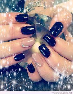 cool Black and nude Christmas nail art