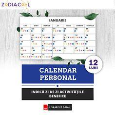 Calendar personal 12 luni, instrument util care indică zi de zi ce activitate este benefică Periodic Table, Periodic Table Chart, Periotic Table