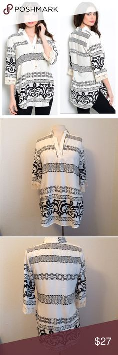 """B/w fringe blouse Black and white fringe blouse  S: L 31"""" B 36"""". 100% polyester. This top has no stretch, but it is slightly oversized. There are small slits on the bottom of each side and the sleeves have fringe.  Availability- S • 1 ⭐️This item is brand new from manufacturer without tags.  🚫NO TRADES 💲Price is firm unless bundled 💰Ask about bundle discounts Tops Blouses"""