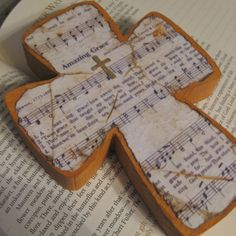 "Wood Hymnal ""Amazing Grace"" Cross"
