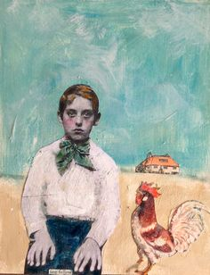 A Fine Fellow a serious vintage boy with rooster mixed media painting by MaudstarrArt
