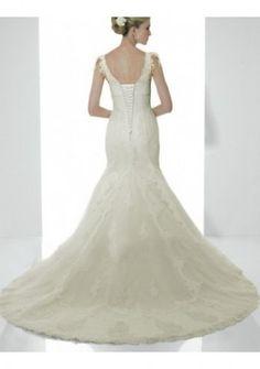 Organza Sexy V-neck With Slim Skirt And Chapel Train Fashioni Custom Made Cheap Bridal Wedding Gown WD0423
