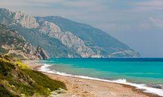 The 7km-long Vatera beach, on Lesvos