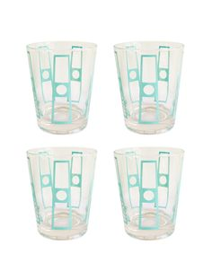 1950s Set of 4 Fred Press Turquoise Glasses - High Street Market