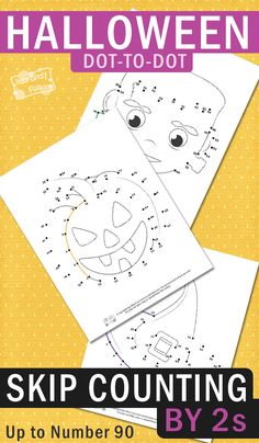 Free Printable dot to dot Halloween skip sount worksheets by 2s. Halloween learning printable for kids.