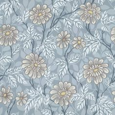 Wallpaper Zinnia blue is a botanical pattern which gives the room character. A soft blue colour with a hint of brown.