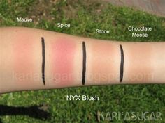 NYX Powder Blush Mauve Spice, two on the left Nyx Swatches, Makeup Swatches, Makeup And Beauty Blog, Health And Beauty Tips, Blush Dupes, Nyx Powder, Cosmetic Shop, Makeup Obsession, Blush Makeup