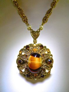 Art Glass Pendant-Necklace WEST GERMANY by RenaissanceFair on Etsy