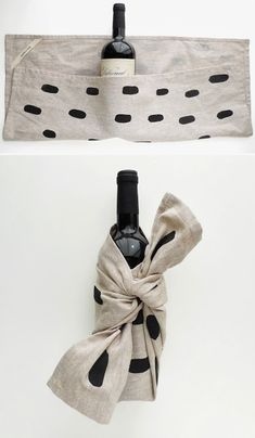Perfect Hostess Gift: Bottle of wine wrapped in a tea towel