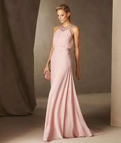 BALEAR - Cocktail dress with gemstones on the back, neckline, gauze and tulle