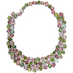 Laura Munder Pink Green Tourmaline Diamond Necklace | From a unique collection of vintage more necklaces at https://www.1stdibs.com/jewelry/necklaces/more-necklaces/