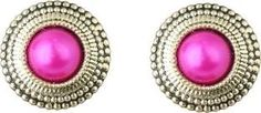 Waama Jewels Charming Pink Gold Plated Stud for Girls and Women Pearl Brass Stud Earring