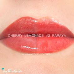 Compare Cherry Lemonade Gloss vs Papaya gloss using this photo.  Cherry Lemonade is a Limited Edition LipSense color introduced by SeneGence in Spring 2020.
