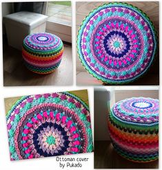 Pukado By Patricia Stuart: Crochet Your Mood Blanket 2014 - March Square - Free pattern Crochet Floor Cushion, Crochet Pouf, Crochet Mandala Pattern, Crochet Cushions, Crochet Pillow, Crochet Stitches Patterns, Floor Cushions, Diy Pillow Covers, Crochet Projects
