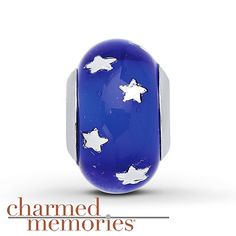 From the Charmed Memories® collection, this charm is crafted in sterling silver and features blue Murano glass with stars.