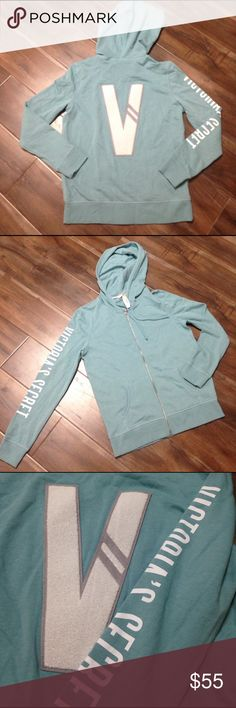 "NWT Victoria's Secret zip up hoodie sweater NWT. Victoria's Secret zip up hoodie sweater in beautiful aqua. V back, white ""Victoria's secret on arm and angle wings on zipper. Ships same day of purchase. Victoria's Secret Sweaters"