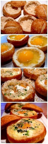 Baked Eggs in Bread Bowls, Great Sunday Morning Recipe! This is also perfect for Easter brunch and Mother's Day from http://NoblePig.com.