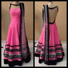 Beautiful net back, pink georgette lehenga with sari work done on border. India Fashion, Ethnic Fashion, Asian Fashion, Women's Fashion, Fashion Dresses, Indian Attire, Indian Ethnic Wear, Indian Style, Pakistani Outfits
