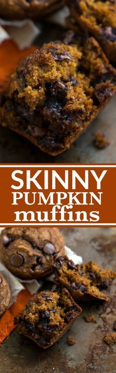 A low-calorie and healthier pumpkin chocolate-chip muffin with absolutely no butter, oil, or flour plus very little sugar. These gluten-free muffins are stuffed