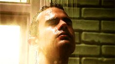 Theo James shower