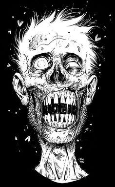 Zombie by Tony Moore Zombie Kunst, Arte Zombie, Comic Books Art, Comic Art, Zombie Drawings, Zombie Face, Monster Sketch, Zombie Monster, Horror Artwork