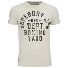Superdry Men's Boxing Yard Short Sleeve T-Shirt - Gym Ecru ($44) ❤ liked on Polyvore featuring men's fashion, men's clothing, men's shirts, men's t-shirts and cream