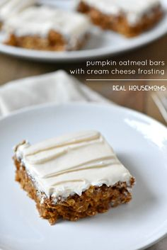 Pumpkin Oatmeal Bars with Cream Cheese Frosting